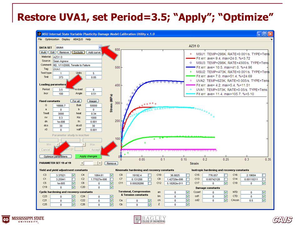 Restore UVA1, set Period=3.5; Apply ; Optimize