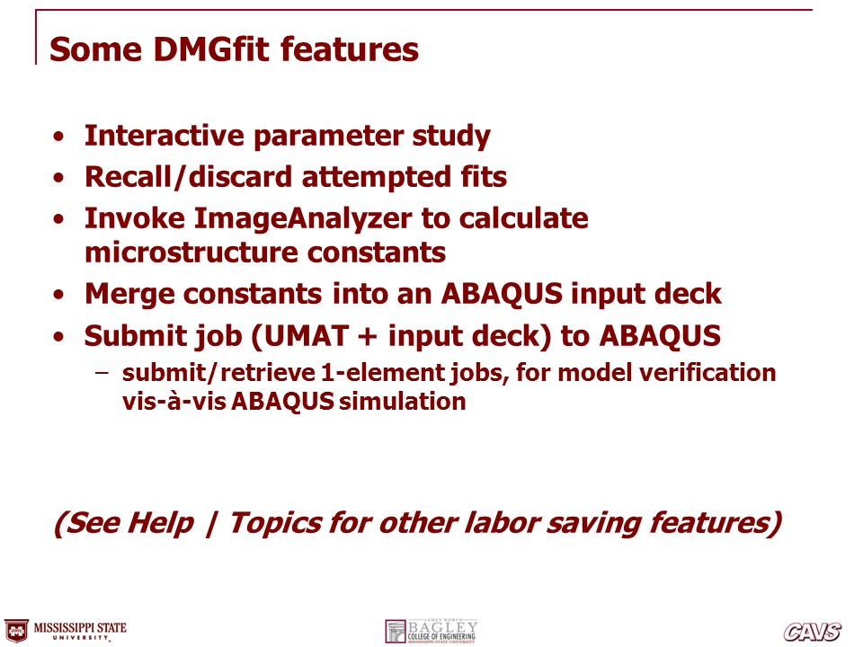 Some DMGfit features Interactive parameter study