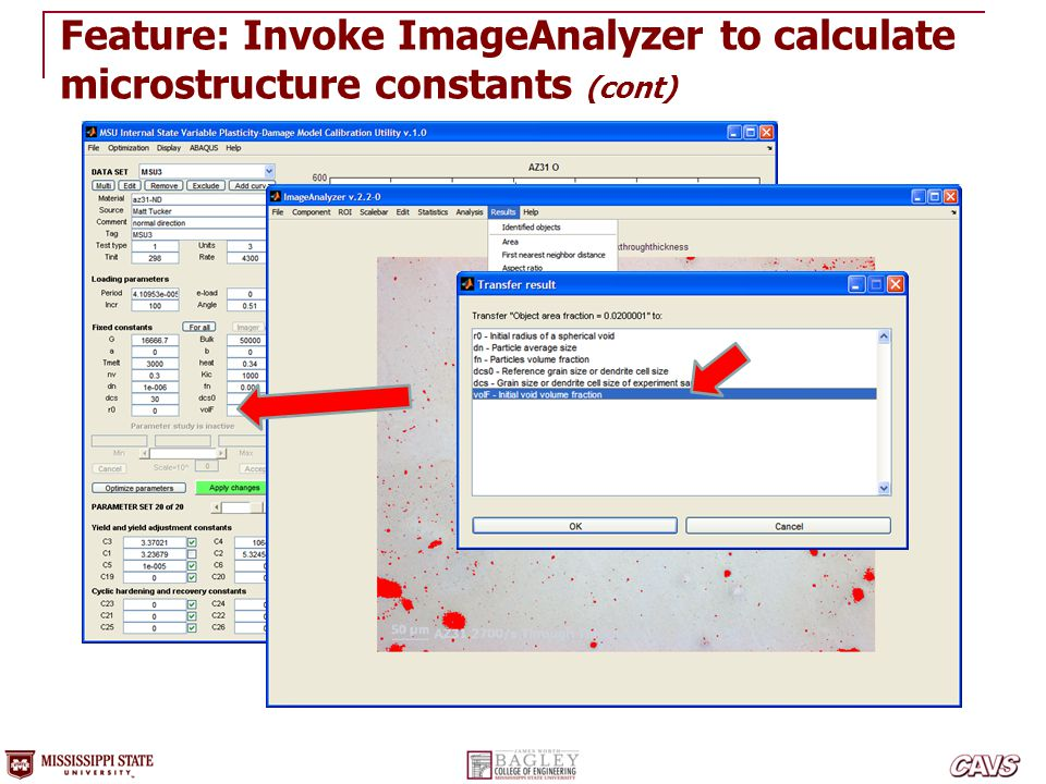 Feature: Invoke ImageAnalyzer to calculate microstructure constants (cont)