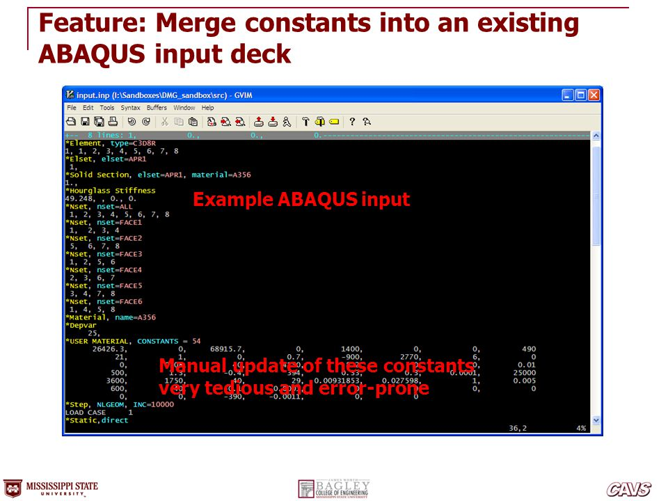 Feature: Merge constants into an existing ABAQUS input deck