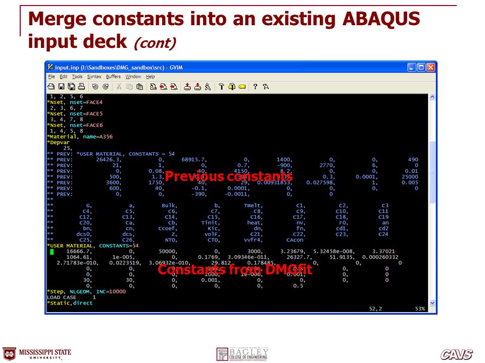 Merge constants into an existing ABAQUS input deck (cont)