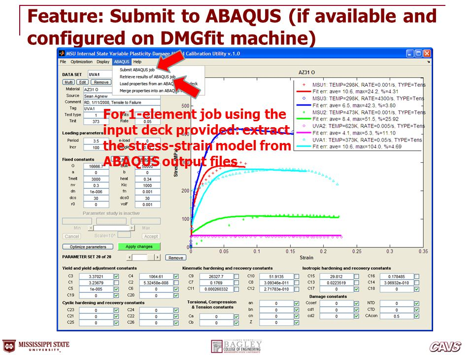 Feature: Submit to ABAQUS (if available and configured on DMGfit machine)