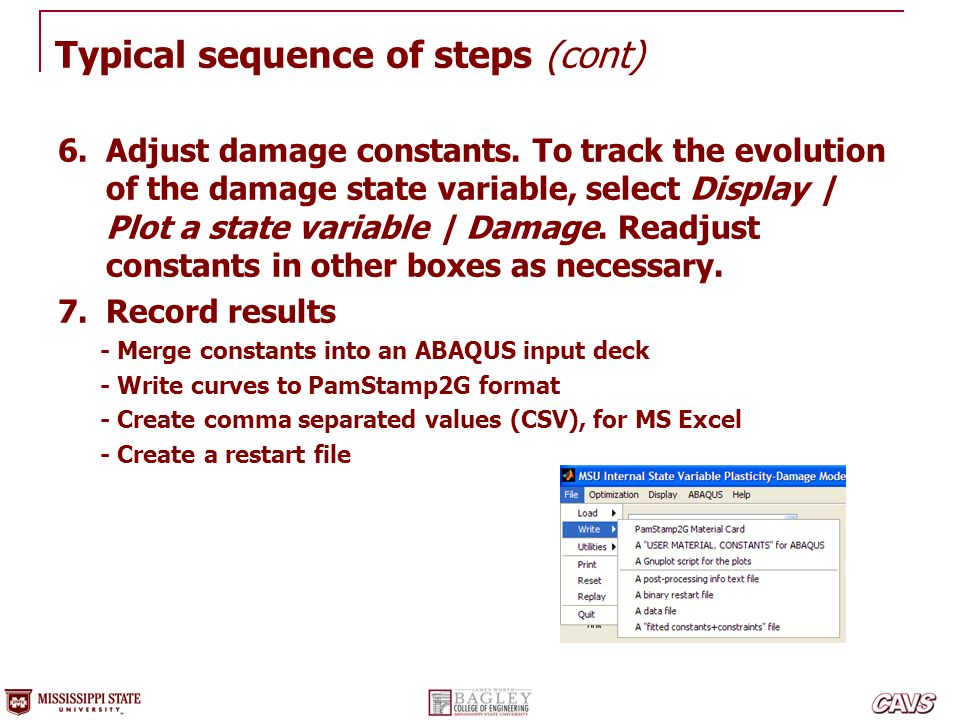 Typical sequence of steps (cont)