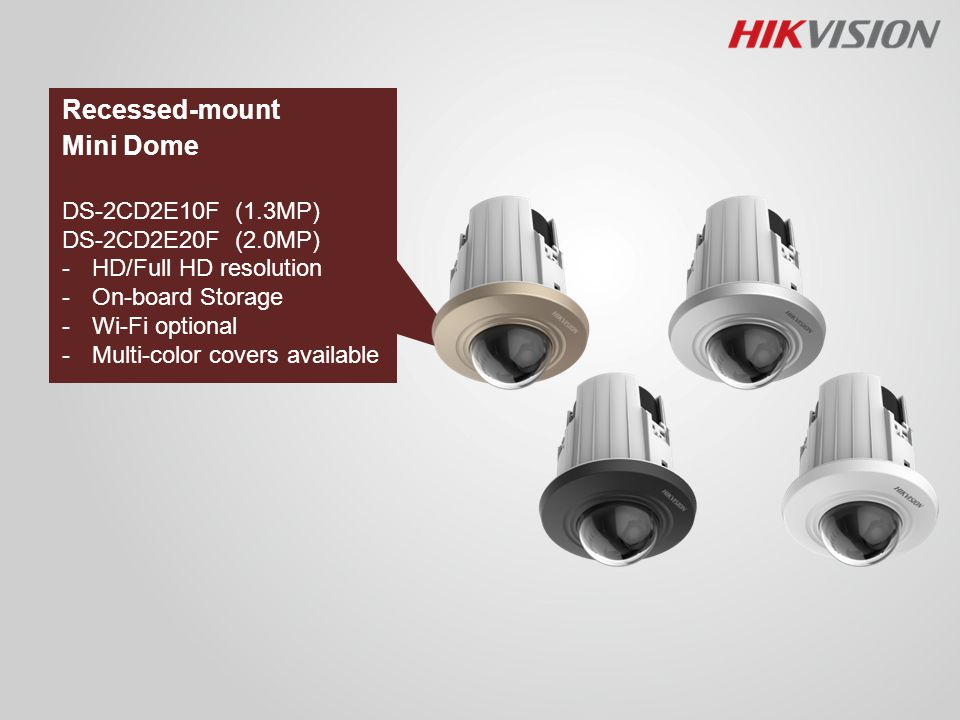 Recessed-mount Mini Dome DS-2CD2E10F (1.3MP) DS-2CD2E20F (2.0MP)