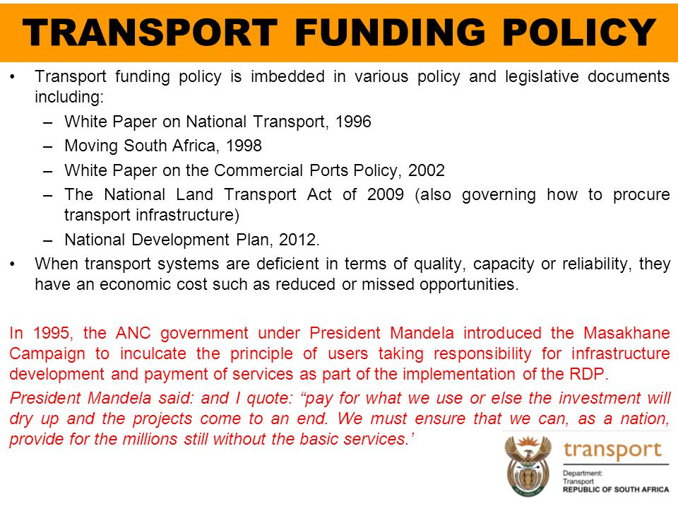 TRANSPORT FUNDING POLICY