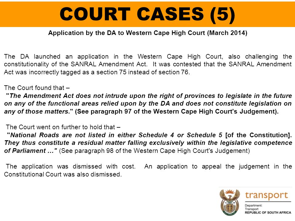 Application by the DA to Western Cape High Court (March 2014)