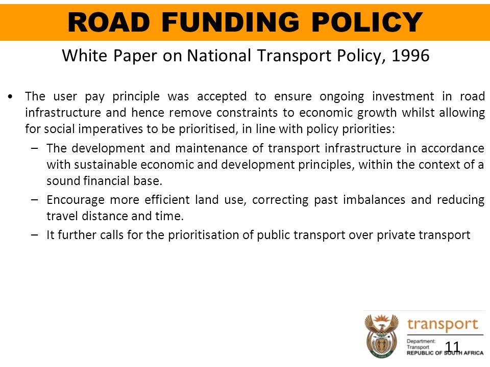White Paper on National Transport Policy, 1996
