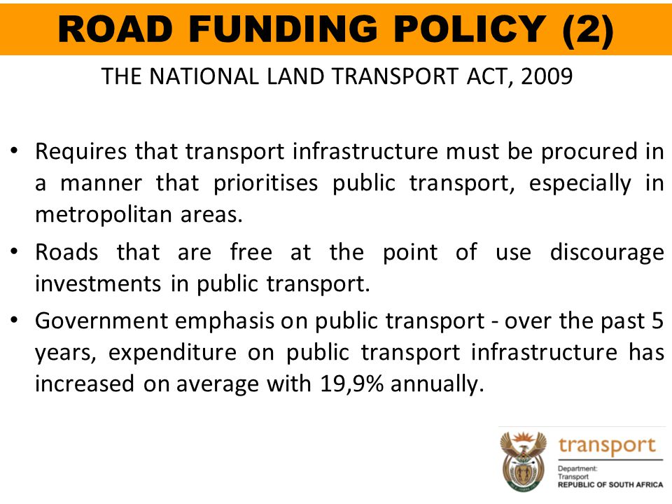 THE NATIONAL LAND TRANSPORT ACT, 2009