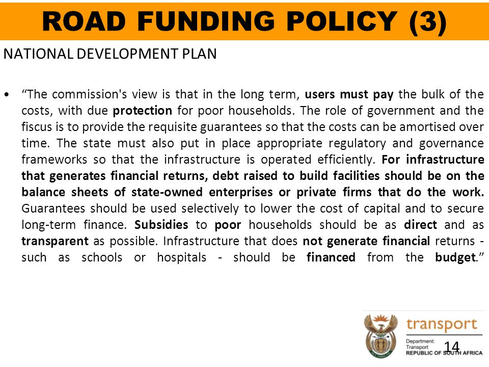 ROAD FUNDING POLICY (3) NATIONAL DEVELOPMENT PLAN 14