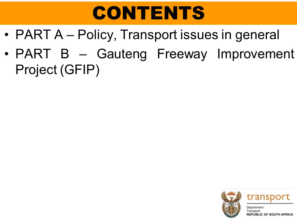 CONTENTS PART A – Policy, Transport issues in general