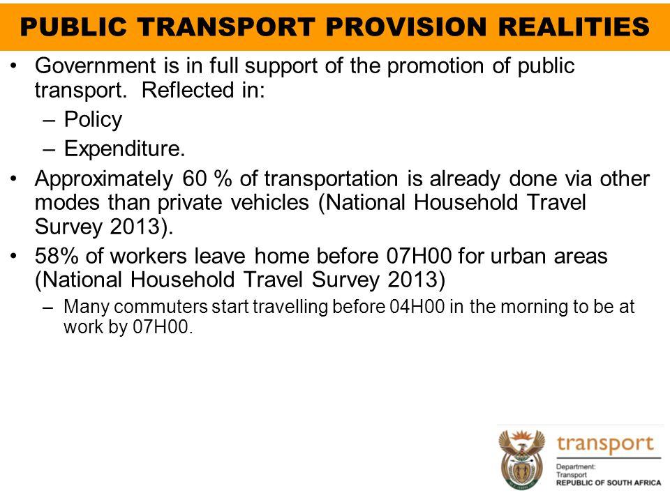 PUBLIC TRANSPORT PROVISION REALITIES