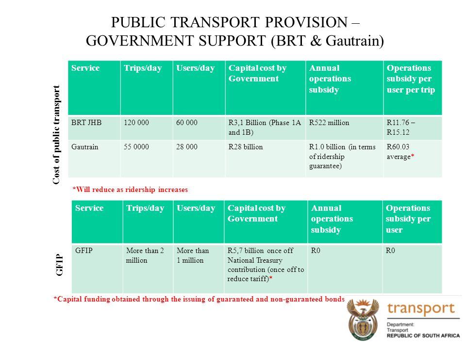 PUBLIC TRANSPORT PROVISION – GOVERNMENT SUPPORT (BRT & Gautrain)