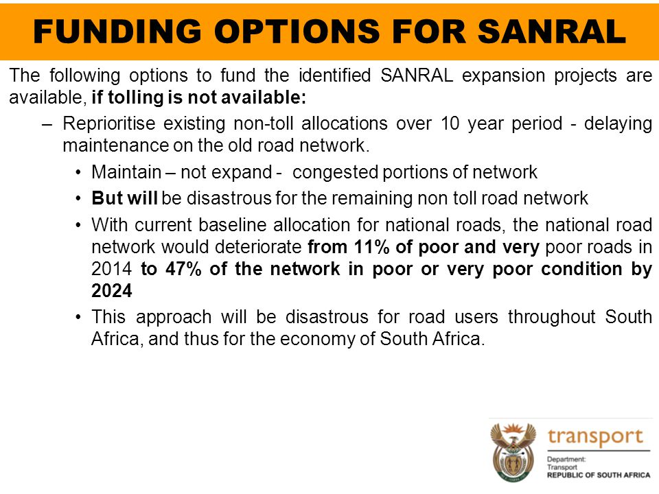 FUNDING OPTIONS FOR SANRAL