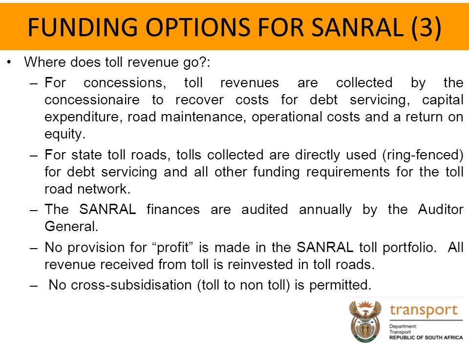 FUNDING OPTIONS FOR SANRAL (3)