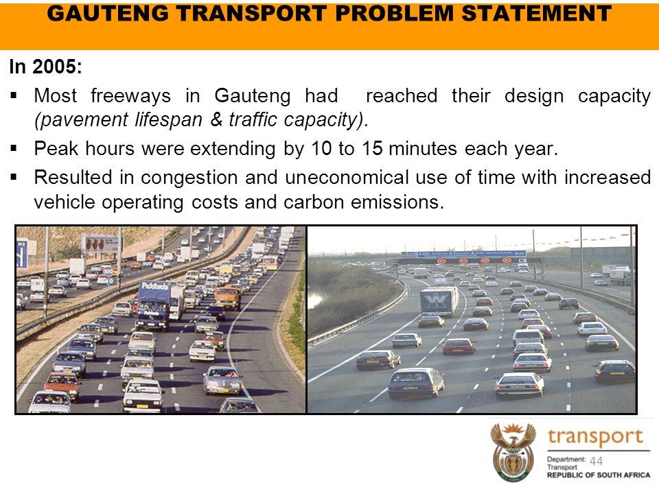 GAUTENG TRANSPORT PROBLEM STATEMENT