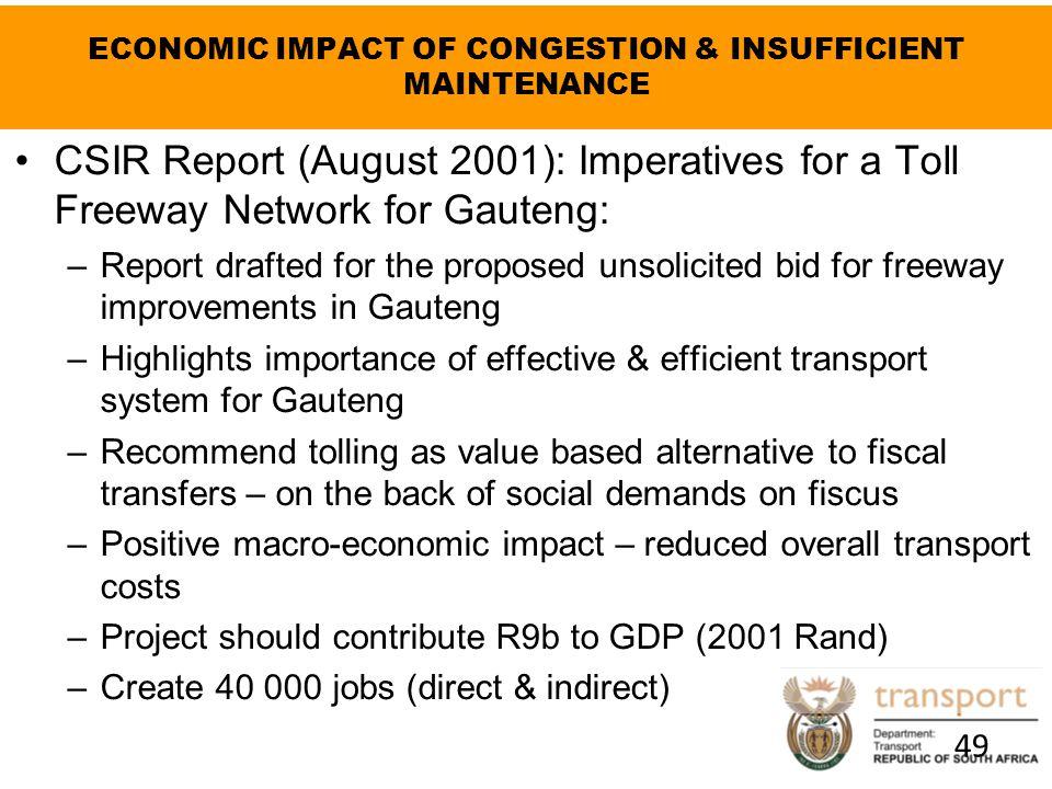 ECONOMIC IMPACT OF CONGESTION & INSUFFICIENT MAINTENANCE