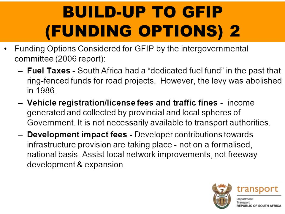 BUILD-UP TO GFIP (FUNDING OPTIONS) 2
