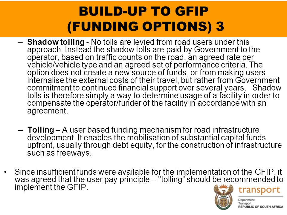 BUILD-UP TO GFIP (FUNDING OPTIONS) 3