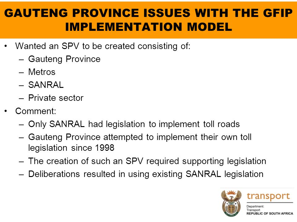 GAUTENG PROVINCE ISSUES WITH THE GFIP IMPLEMENTATION MODEL