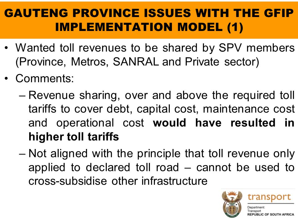 GAUTENG PROVINCE ISSUES WITH THE GFIP IMPLEMENTATION MODEL (1)