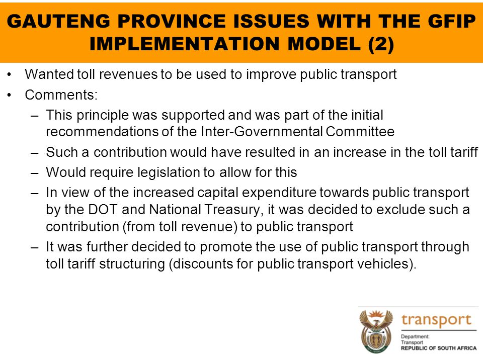 GAUTENG PROVINCE ISSUES WITH THE GFIP IMPLEMENTATION MODEL (2)