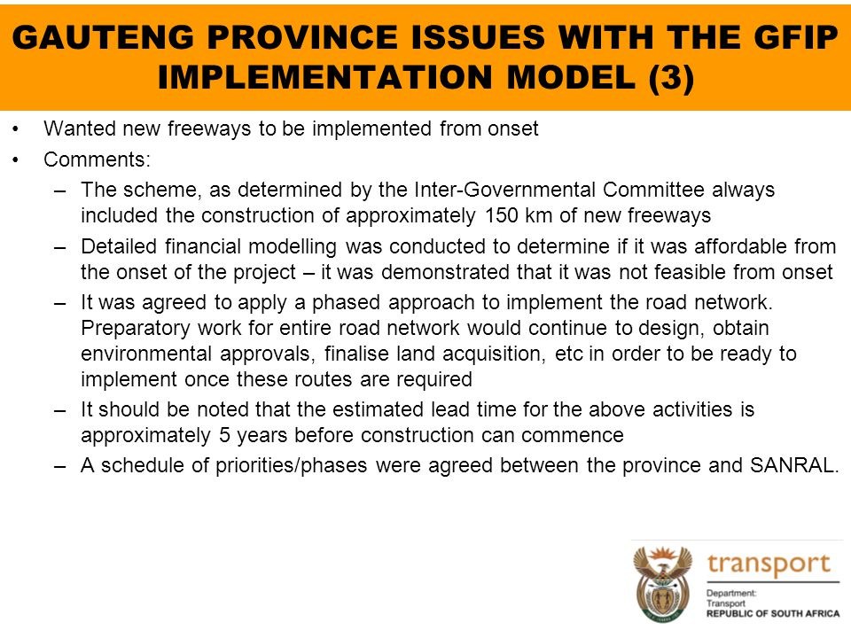 GAUTENG PROVINCE ISSUES WITH THE GFIP IMPLEMENTATION MODEL (3)