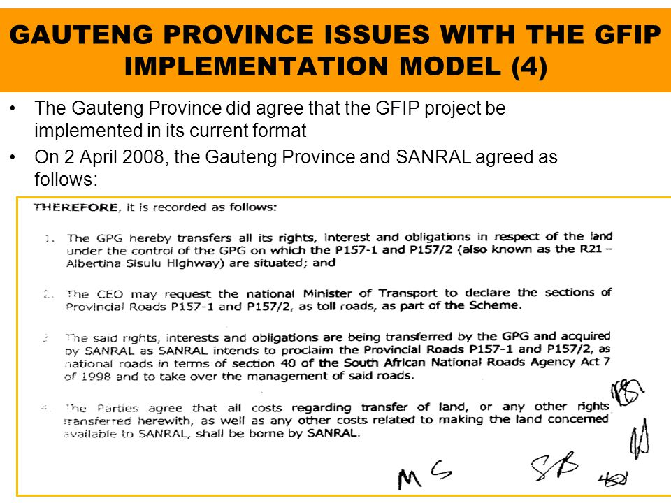 GAUTENG PROVINCE ISSUES WITH THE GFIP IMPLEMENTATION MODEL (4)