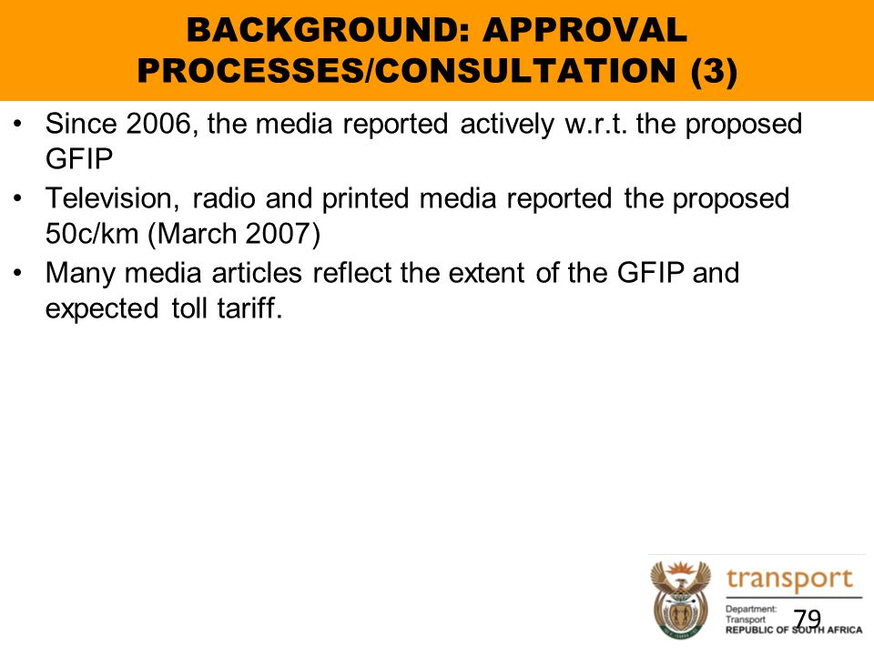 BACKGROUND: APPROVAL PROCESSES/CONSULTATION (3)