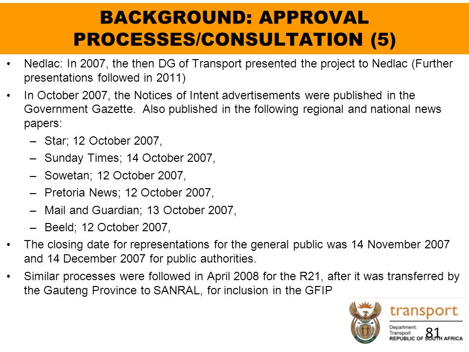 BACKGROUND: APPROVAL PROCESSES/CONSULTATION (5)