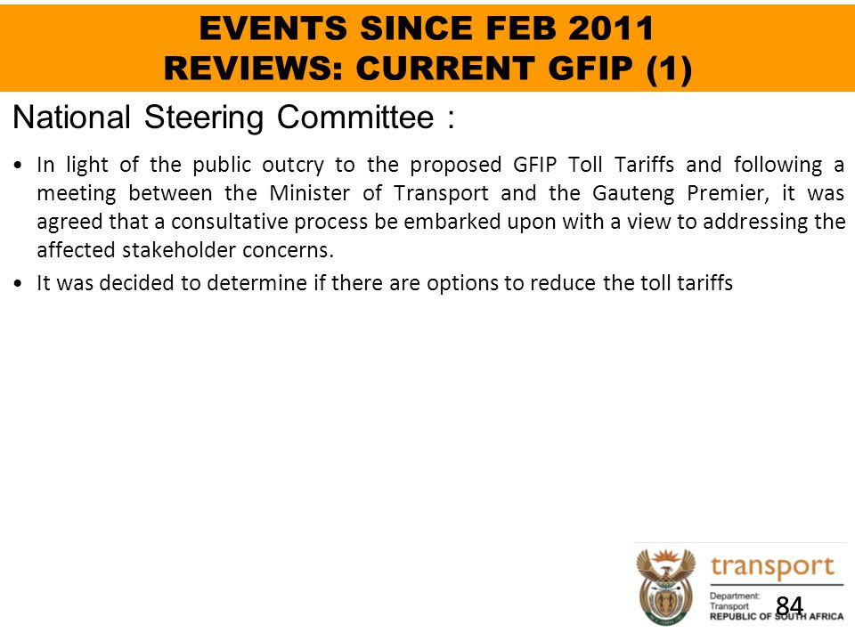 EVENTS SINCE FEB 2011 REVIEWS: CURRENT GFIP (1)