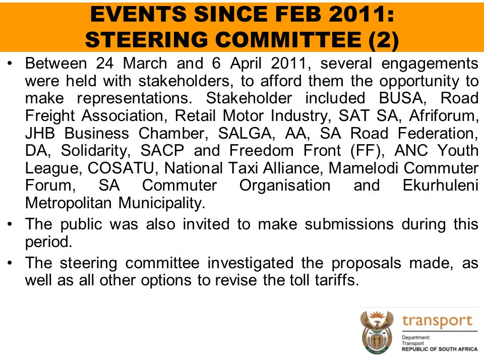 EVENTS SINCE FEB 2011: STEERING COMMITTEE (2)