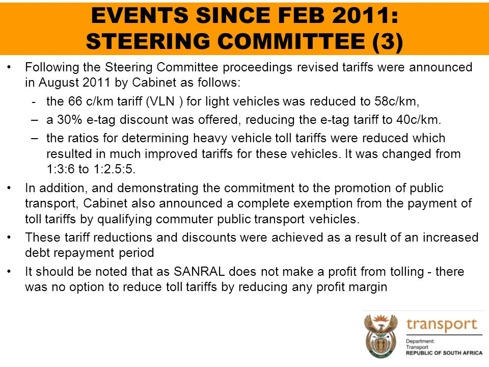 EVENTS SINCE FEB 2011: STEERING COMMITTEE (3)