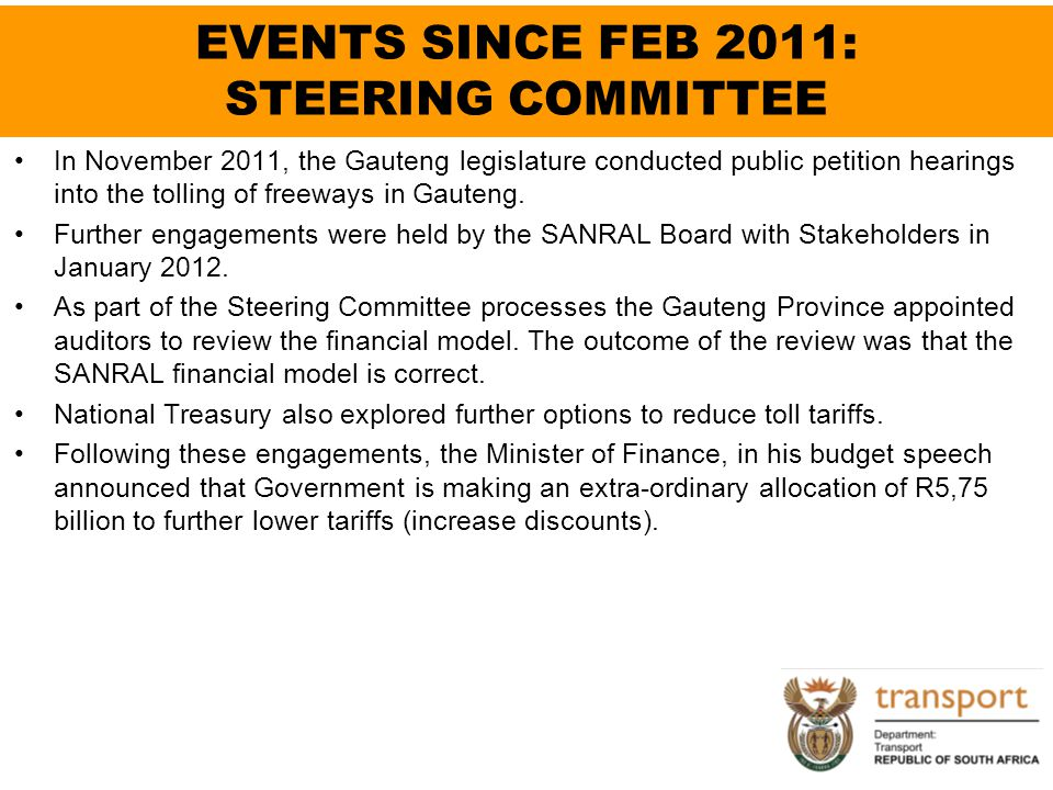 EVENTS SINCE FEB 2011: STEERING COMMITTEE