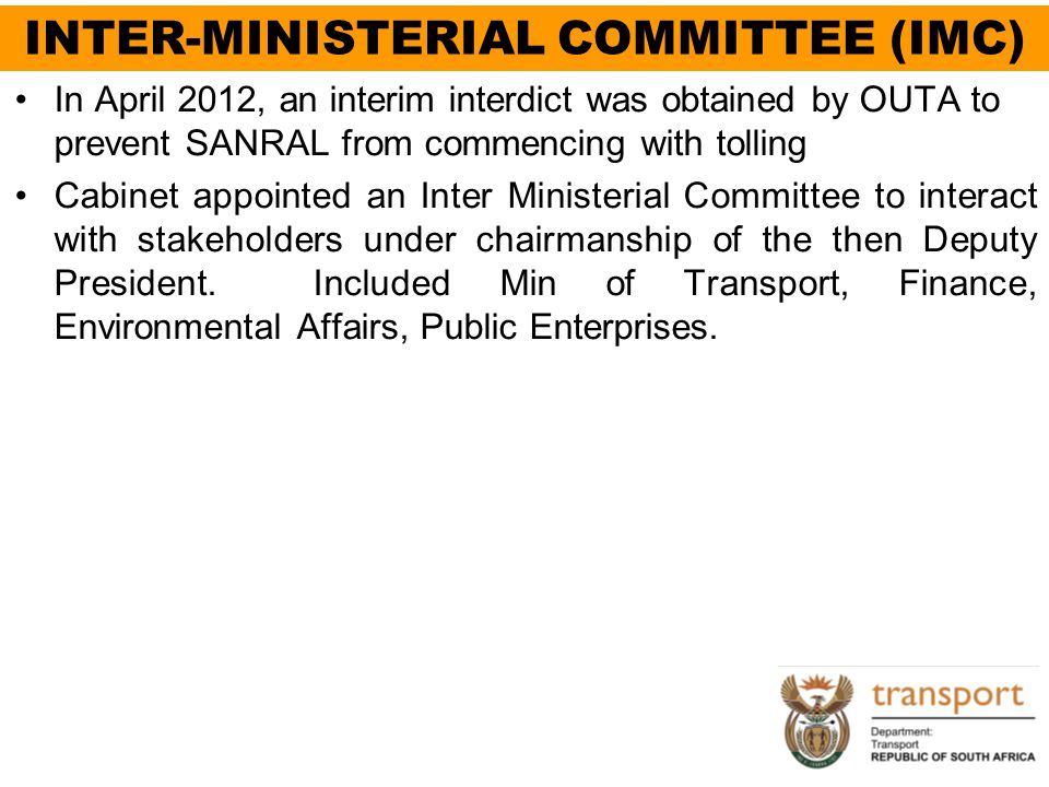 INTER-MINISTERIAL COMMITTEE (IMC)