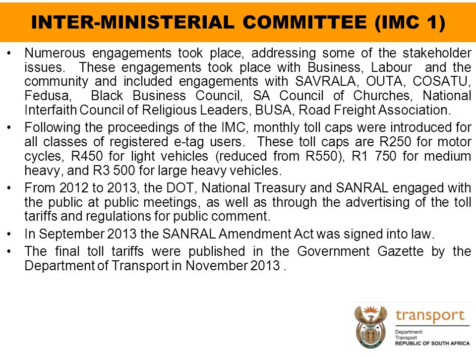 INTER-MINISTERIAL COMMITTEE (IMC 1)