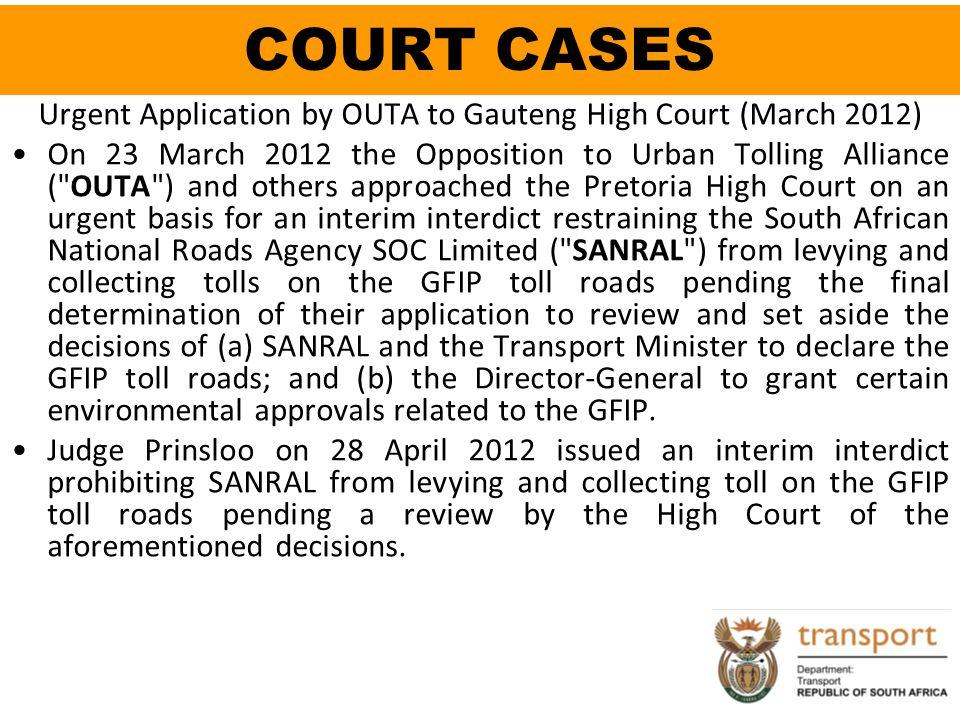 Urgent Application by OUTA to Gauteng High Court (March 2012)