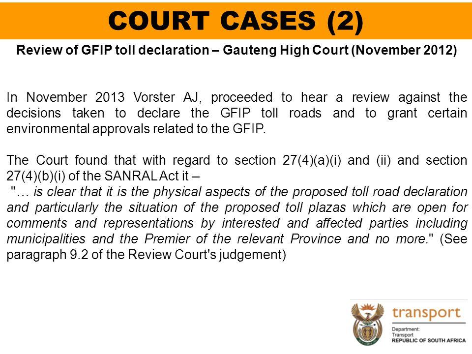 Review of GFIP toll declaration – Gauteng High Court (November 2012)