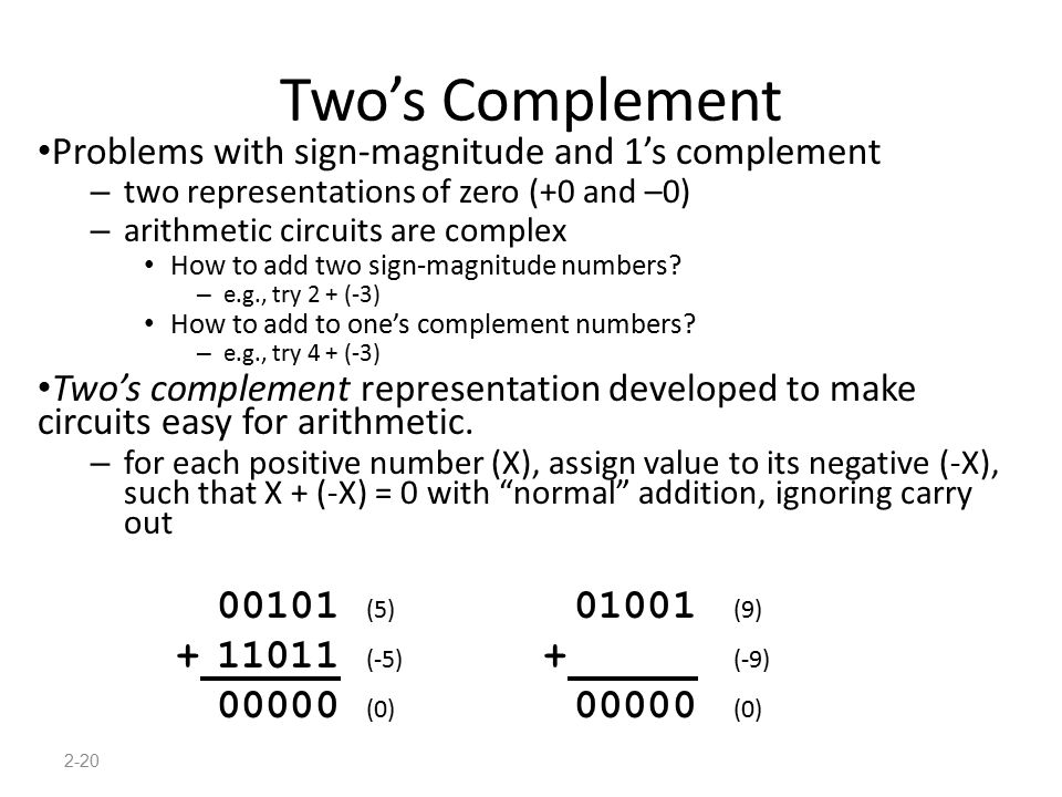 Two's Complement + 11011 (-5) + (-9) 00000 (0) 00000 (0)
