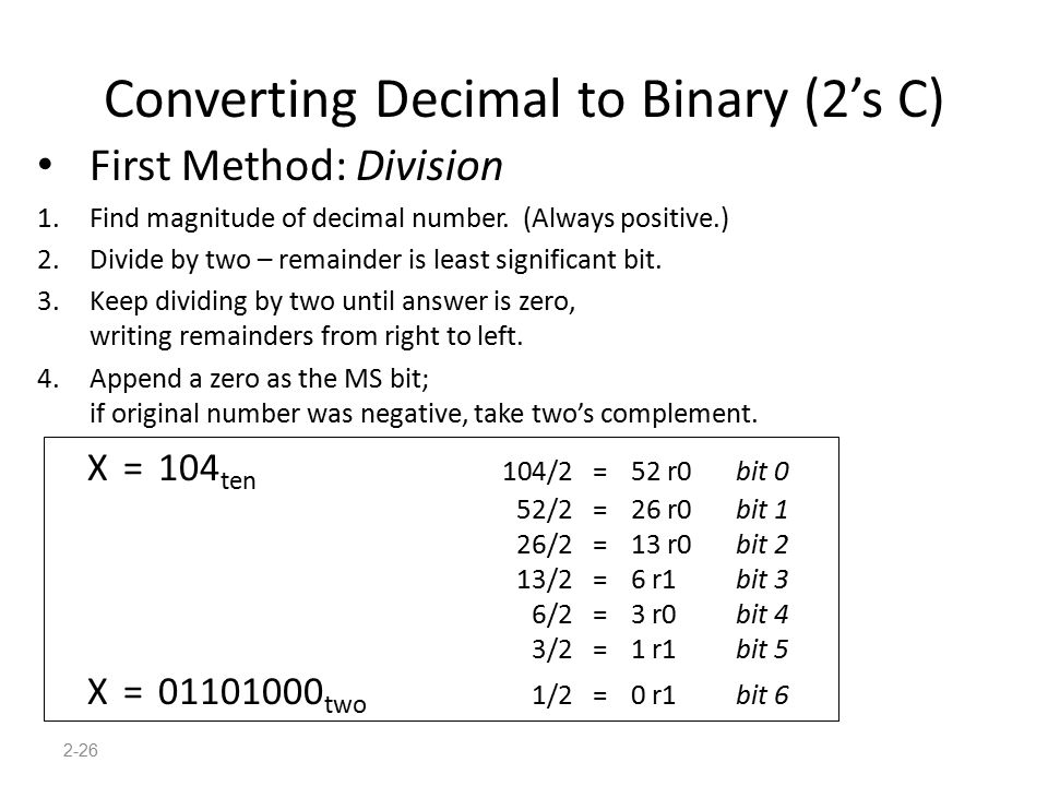 Converting Decimal to Binary (2's C)