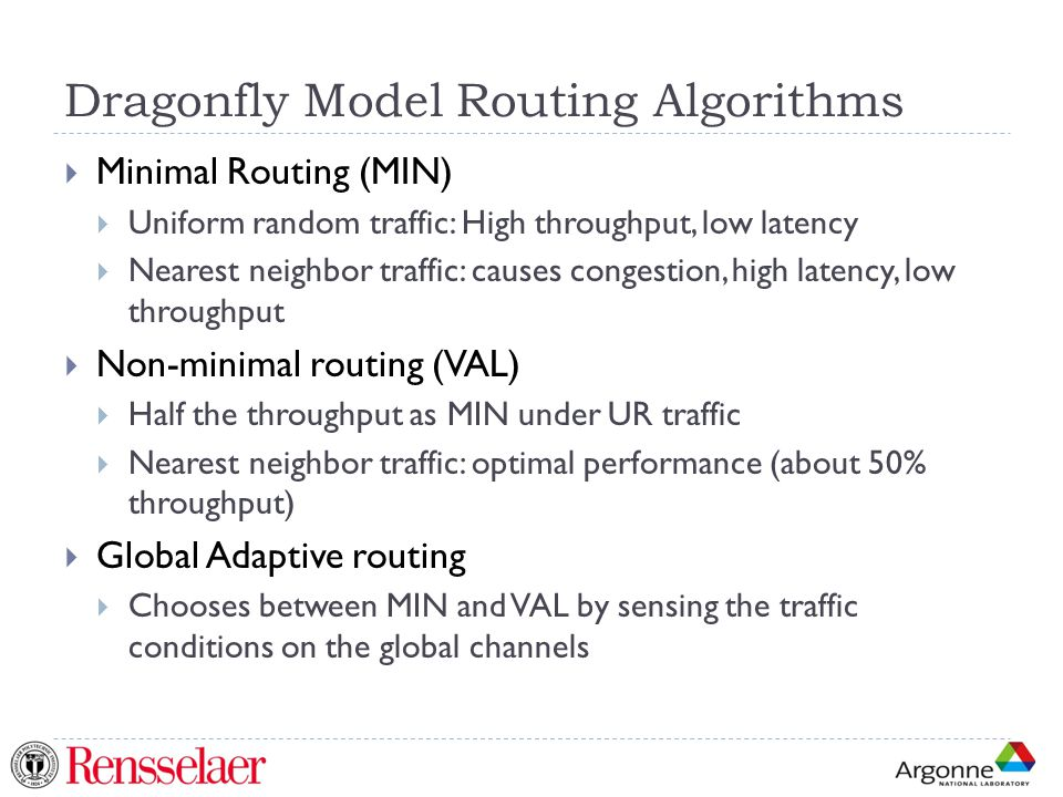 Dragonfly Model Routing Algorithms