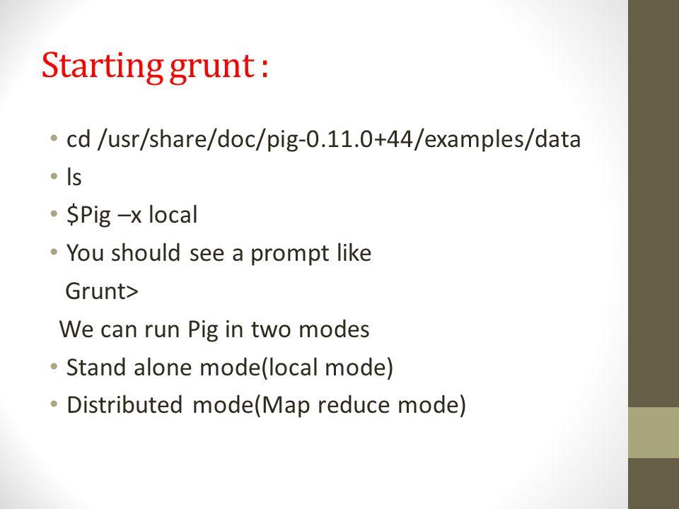 Starting grunt : cd /usr/share/doc/pig-0.11.0+44/examples/data ls