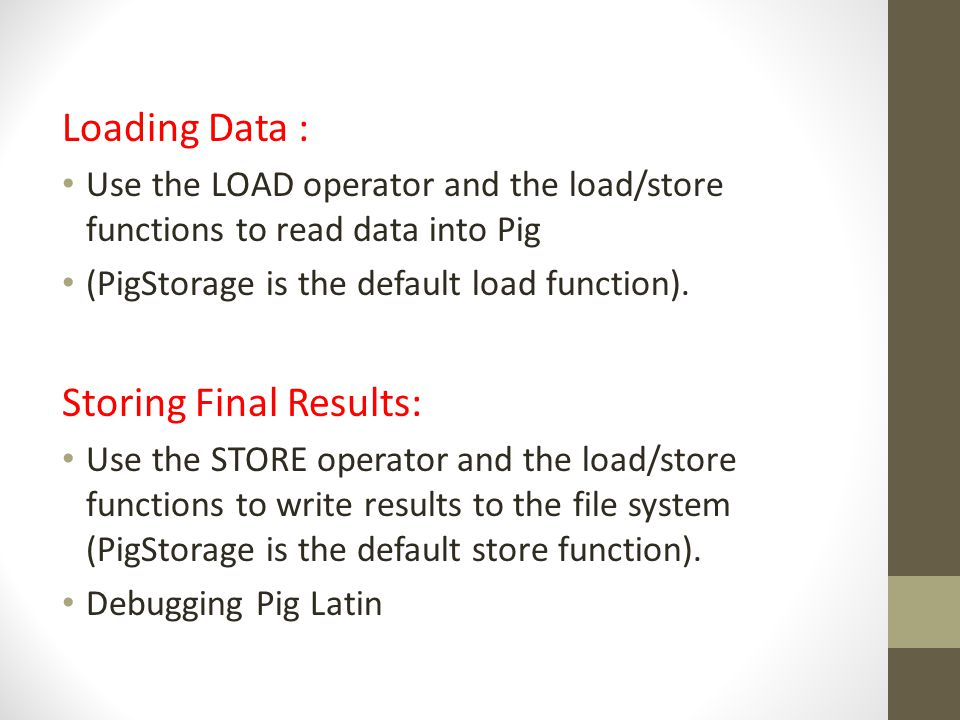 Storing Final Results: