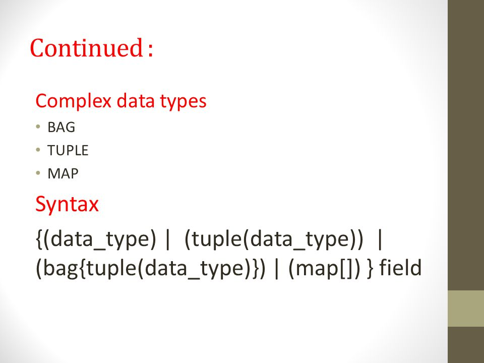 Continued : Complex data types. BAG. TUPLE. MAP.