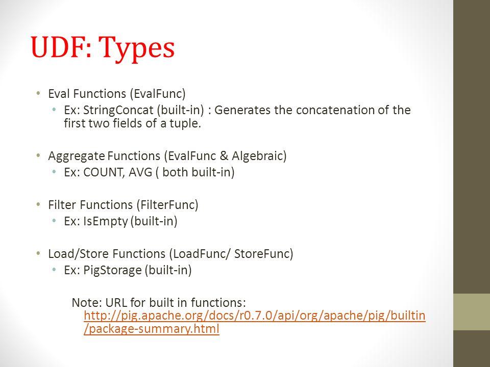 UDF: Types Eval Functions (EvalFunc)