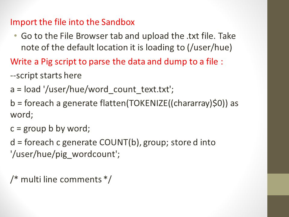 Import the file into the Sandbox