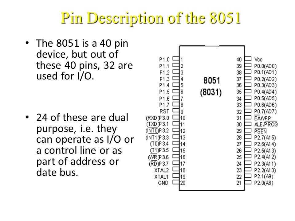 Pin Description of the 8051 The 8051 is a 40 pin device, but out of these 40 pins, 32 are used for I/O.