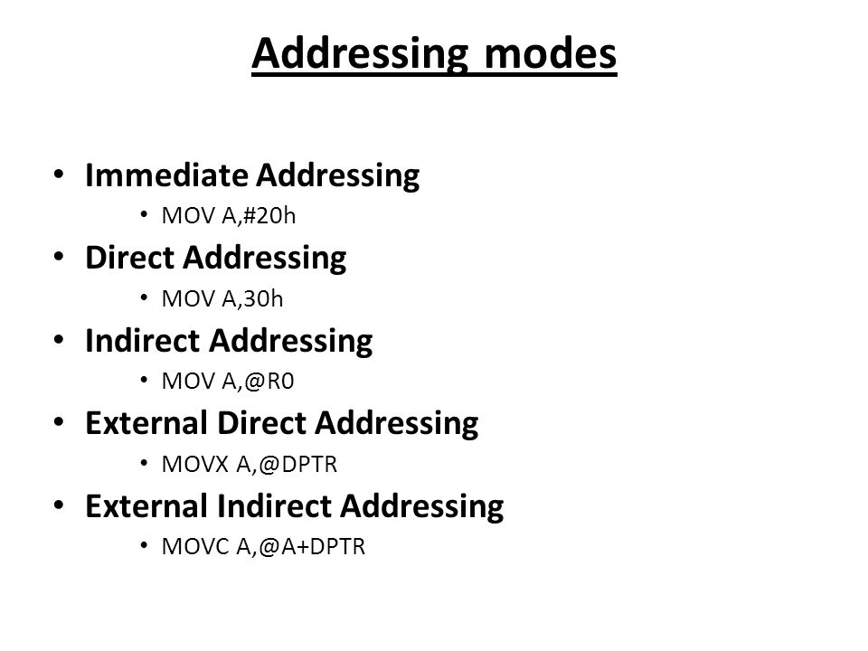 Addressing modes Immediate Addressing Direct Addressing