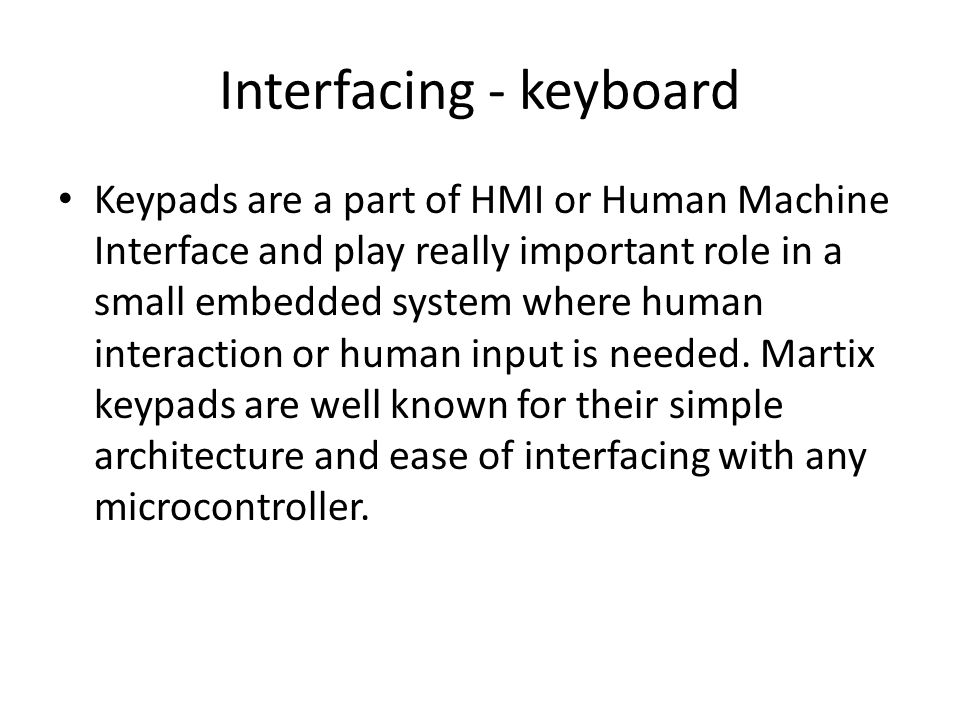Interfacing - keyboard