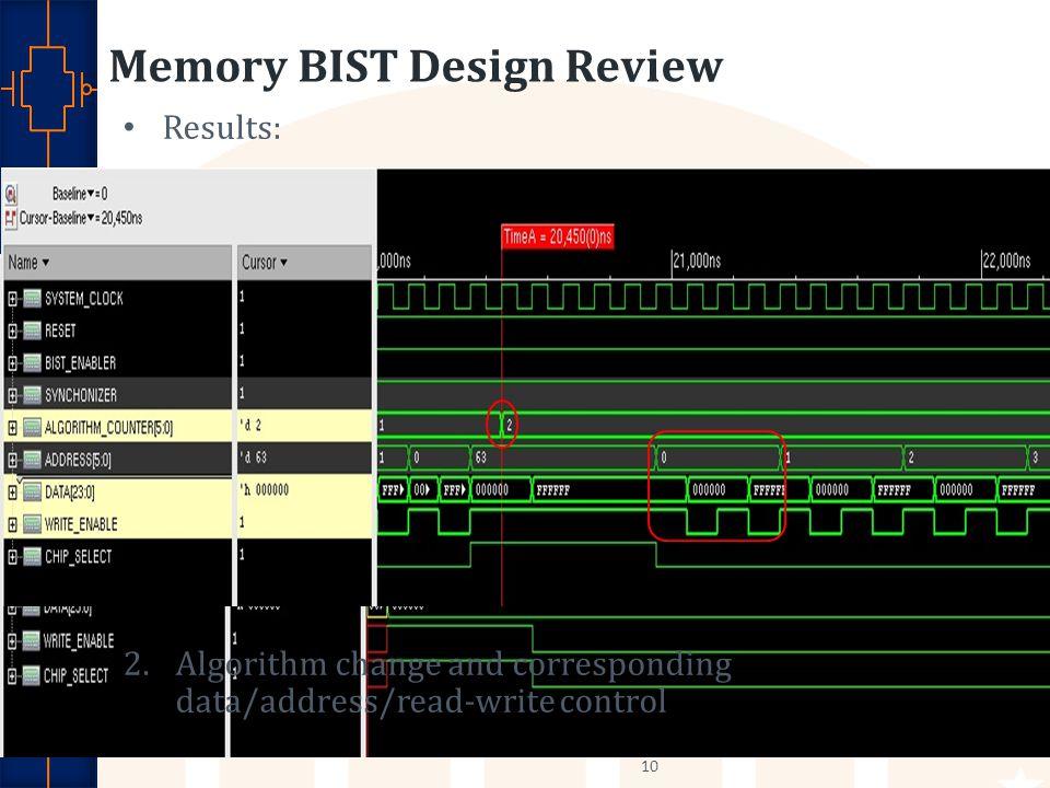 Memory BIST Design Review