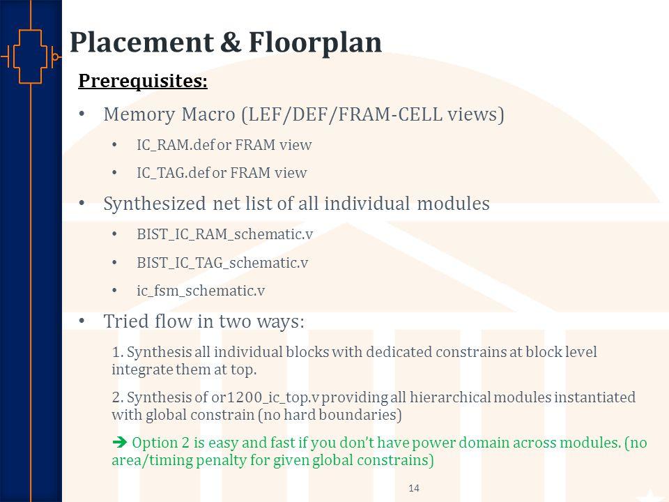 Placement & Floorplan Prerequisites: